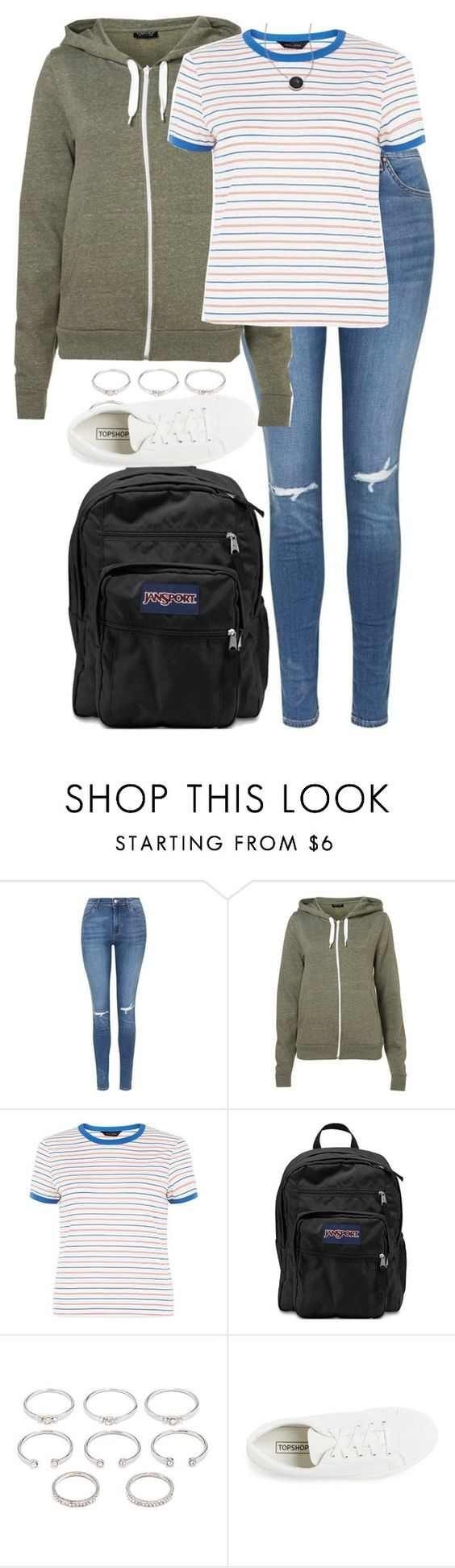 """OOTD - school. // 21.05.16"" by francesca-valentina-gagliardi ❤ liked on Polyvore featuring Topshop, JanSport, Forever 21 and Pineapple Seed"