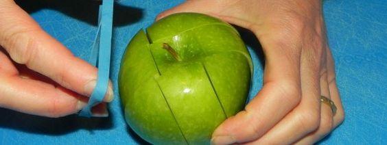 Handige manier om je appels te snijden.