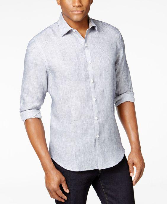 Tasso Elba Men's Marled Long-Sleeve Shirt, Only at Macy's