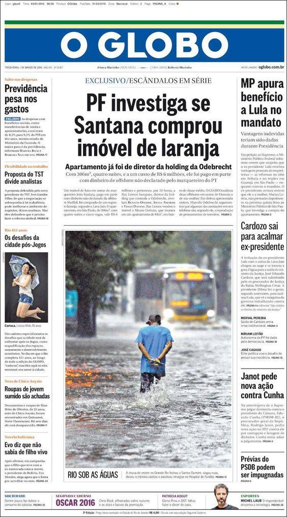 #20160301 #BRASIL #BRAZIL #RIOdeJANEIRO Terça-feira 01 MAR 2016 #OGLOBOjornalBRASIL http://en.kiosko.net/br/2016-03-01/np/br_oglobo.html