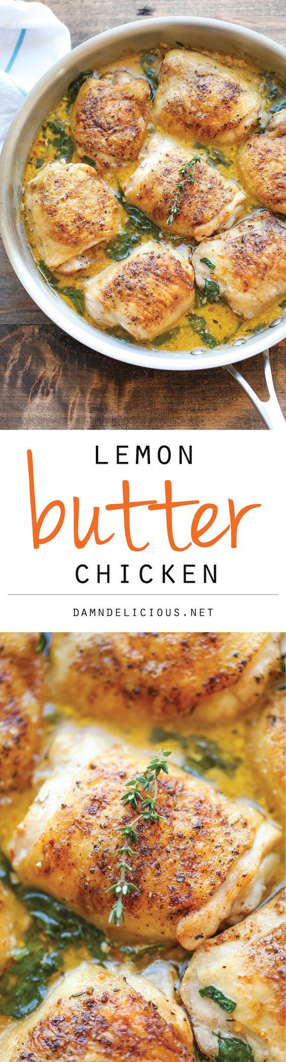 Lemon Butter Chicken - Easy crisp-tender chicken with the creamiest lemon butter sauce ever - Sauce: garlic, chicken broth, heavy cream, Parmesan, lemon juice and thyme. yum - 2 net carbs/serving