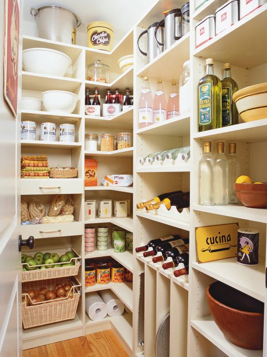 Let us transFORM a small closet to a spacious walk in pantry. In this custom-designed melamine kitchen pantry in almondine we used wine racks, tray dividers and space efficient wrap around corner shelves to expand storage in a small space.