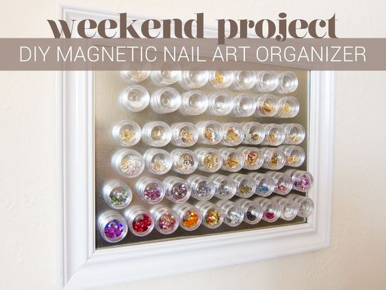 DIY Magnetic Nail Art Organizer Tutorial by @chalkboardnails