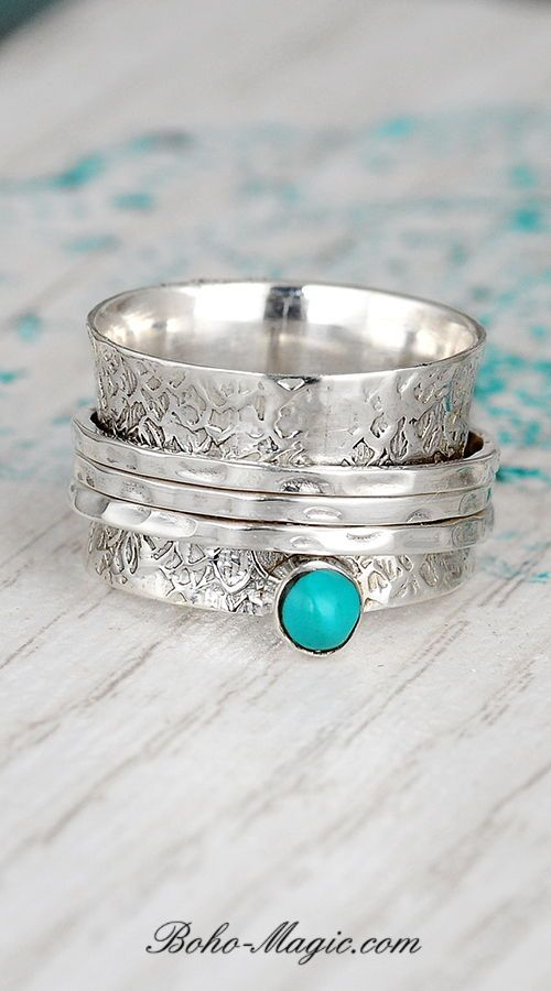 Turquoise Solid 925 Sterling Silver Spinner Ring Meditation Ring Band Ring Size