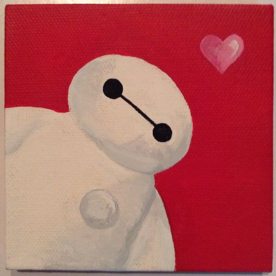 Baymax mini canvas painting by colorfulmesshandmade on for Canvas art ideas for kids