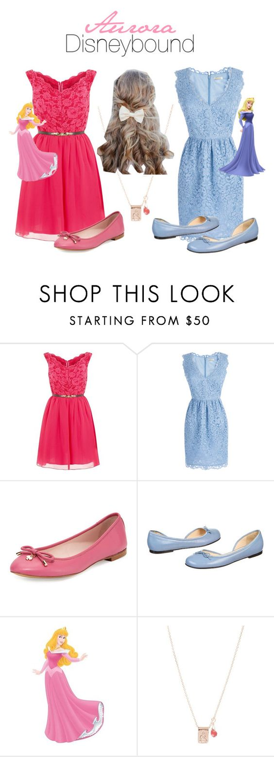 """""""Sleeping Beauty Disneybound"""" by maydayhailee ❤ liked on Polyvore featuring Laced In Love, Shoshanna, Kate Spade, Christian Louboutin and By Charlotte"""