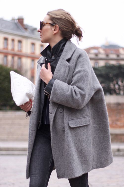 Minimal   Chic. Grey coat, denim jeans and white clutch. Winter ...