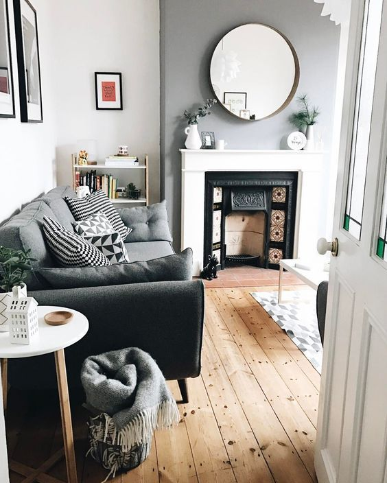 Slate Grey Wall By Dulux Mirror From Ikea Sofa From Dfs See This Instagram Photo By Holl Victorian Living Room Tiny Living Rooms Tiny Living Room Apartment