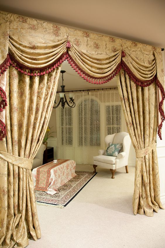 Curtains Ideas austrian valances curtains : Picture of Versailles Rose - Austrian Swag Style 100'' | mis ...