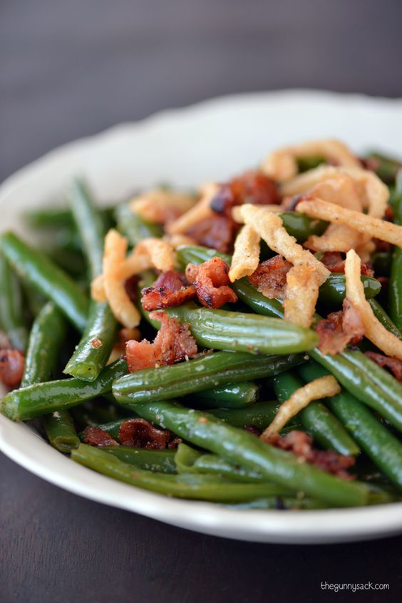 Green beans with bacon french fried onions and fried for Easy thanksgiving green bean recipes