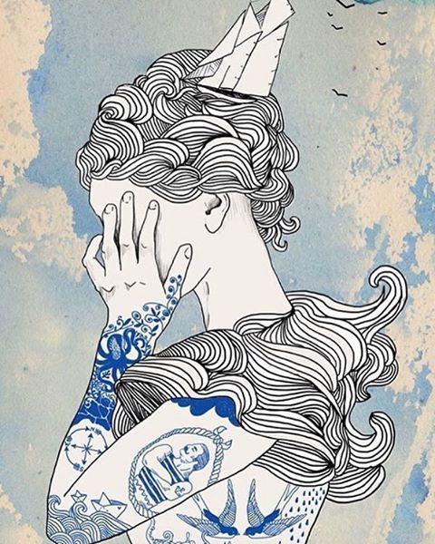 La hija del marinero. Ilustración de Helke Rah - - @hellicopter_illustration - - #ilustración #illustration #art #arte #cultura #CulturaColectiva
