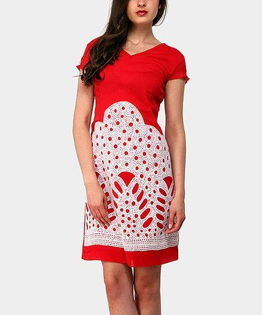 Take a look at this Red Mountain Cap-Sleeve Dress by Almatrichi on #zulily today!