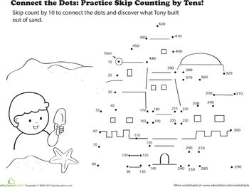 Connect the dots, Skip counting and Worksheets on Pinterest