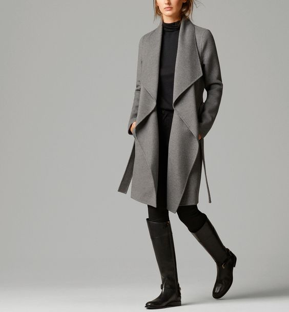 drape front Massimo Dutti gray wool COAT WITH BELT | Cozy Neutrals