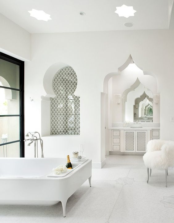 Moroccan-inspired bathroom.Casbah Cove by Gordon Stein Design