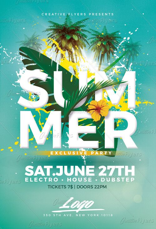 Summer Party Psd Flyer Templates Creativeflyers Party Flyer