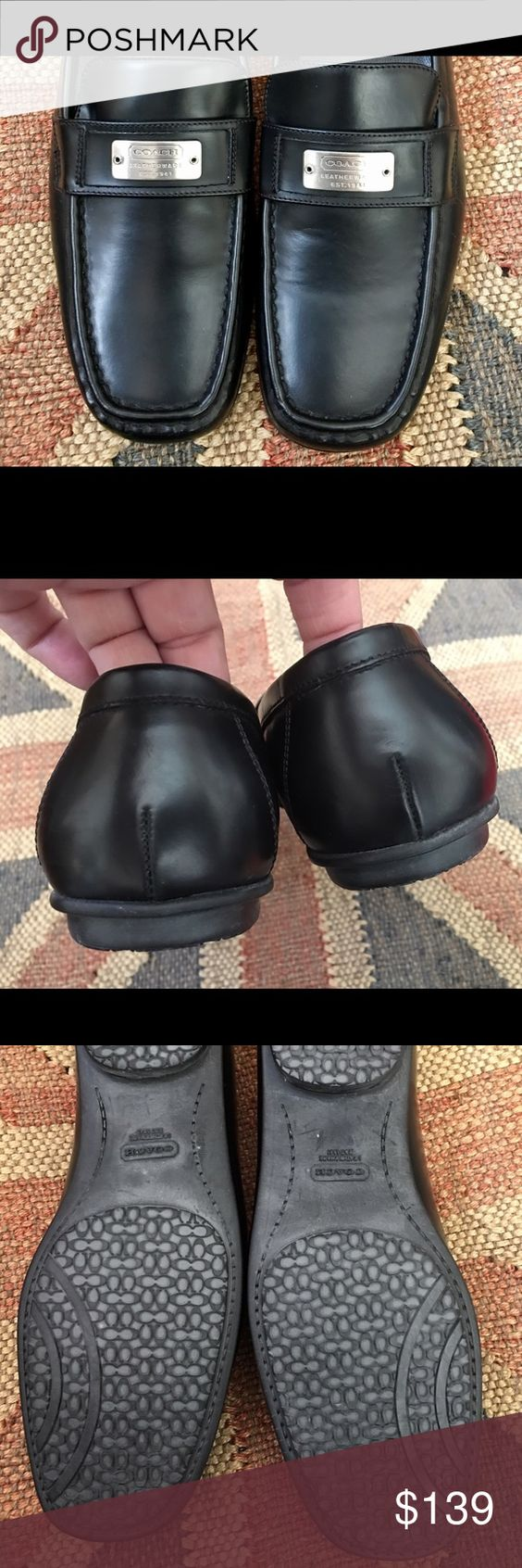 """Coach Black Italian Leather Ladies Shoes NWOT This is an authentic pair of coach ladies black leather slip on shoes. Never worn. Rubber bottoms covered in """"C's"""". The rubber bottom give these shoes incredible grip. Ladies size 8 medium. Adorable! Made in Italy. Coach Shoes Flats & Loafers"""