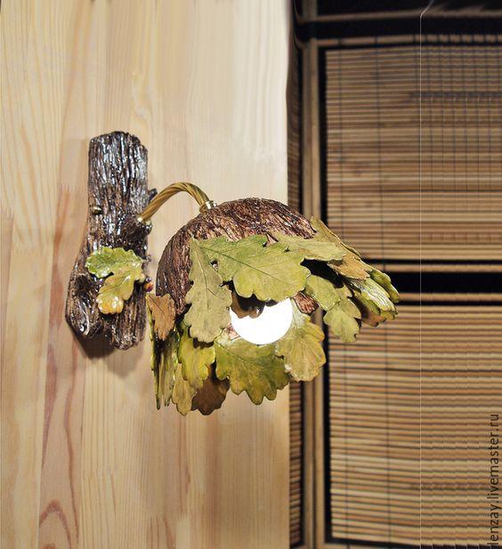 Купить Осенний дуб - бра для веранды - коричневый, керамический плафон, керамические люстры, ажурная керамика