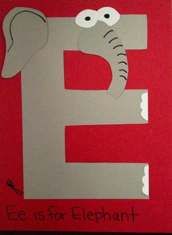 e is fpr elephant craft | is for Elephant PreK/preschool craft | ABC (ALPHABET)& NUMBER (123 ...