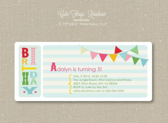 Invitation - Rainbow Cute Flags