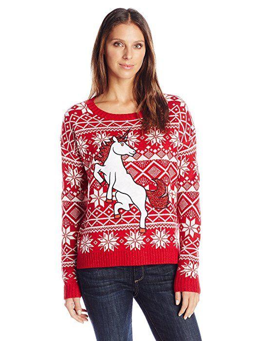Blizzard Bay Women\u0027s Glitter Unicorn Ugly Christmas Sweater, Red