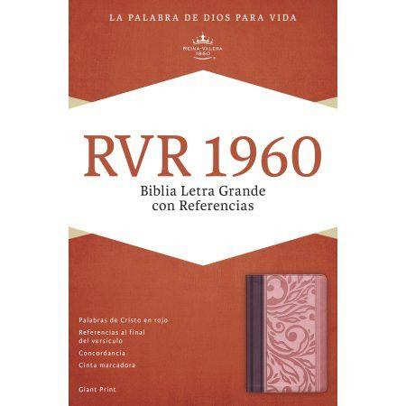 RVR 1960 Biblia Letra Grande con Referencias, borravino/rosado símil piel