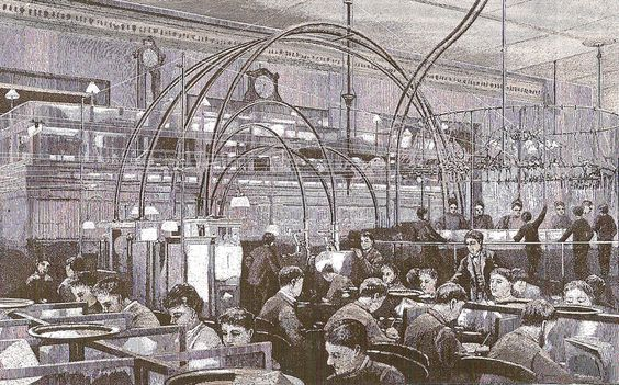 This is an 1889 drawing of what the Western Union office on Broadway looked like....note the pneumatic tubes arching through the office!
