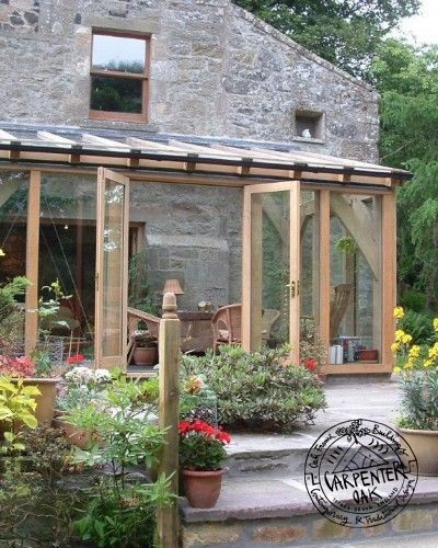 Glazed green oak conservatory extension in fife scotland for Wooden garden rooms extensions