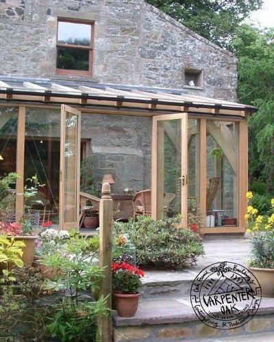 Glazed green oak conservatory extension in fife scotland for Green garden rooms