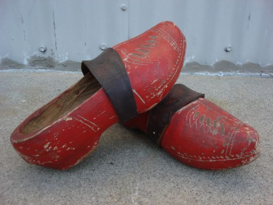 This is a great pair of original Dutch antique hand made wooden shoes!