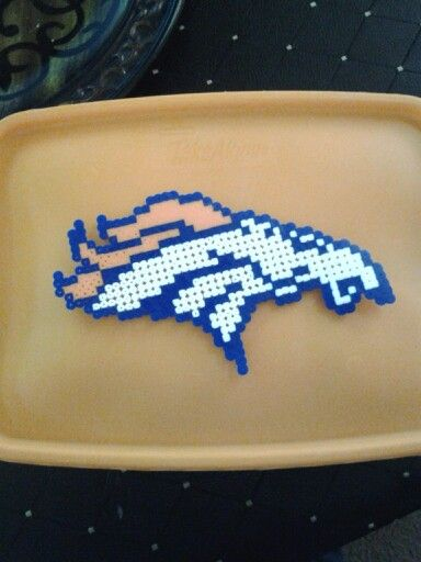 Perler Bead Denver Broncos Logo Ironed Side Projects We