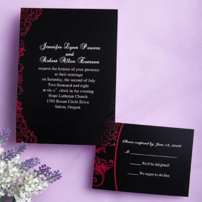 Classic black and red wedding invitations EWI034 |