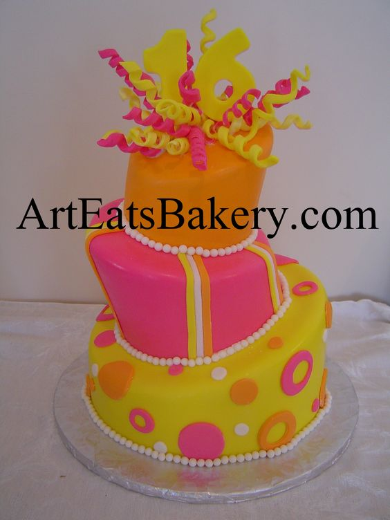 Orange, pink and yellow mad hatter topsy turvy sweet 16 ...