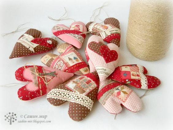 Сашин мир: Подвески текстильные - сердечки