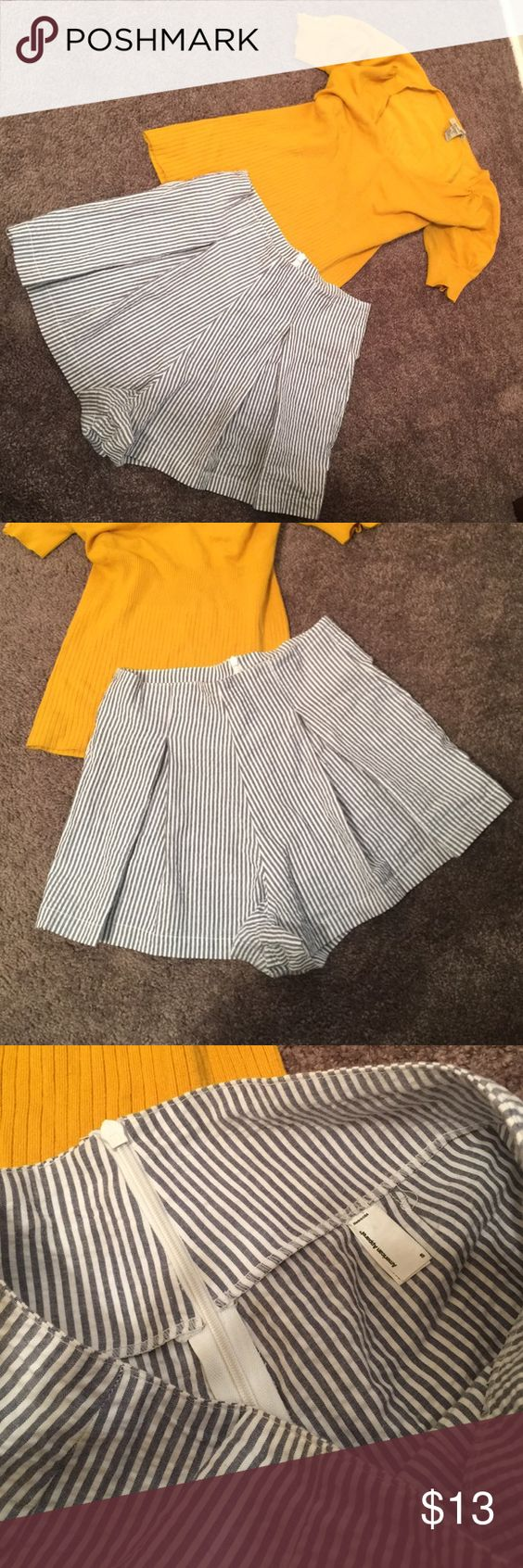 American Apparrel Flare Shorts Blue stripes. Great Condition Size Small American Apparel Shorts