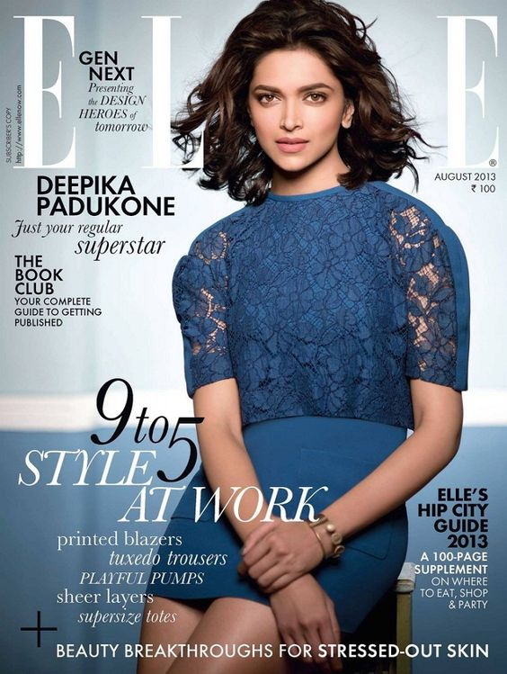 Elle Magazine Cover girl Deepika Padukone in August 2013 issue