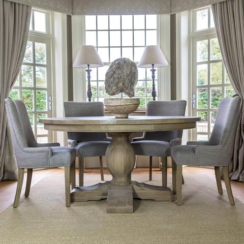 Amberley Weathered Oak Urn Style Dining Table