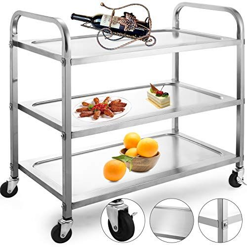 Vbenlem Utility Cart 3 Shelf Utility Cart On Wheels 330lb Https Www Amazon Com Dp B07sm92yw7 Ref Cm Sw R Pi Utility Cart Slim Kitchen Storage Tray Design Stainless steel cart on wheels