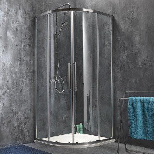 Porte de douche coulissante sensea purity 3 verre transparent chrom projet - Porte verre salle de bain ...