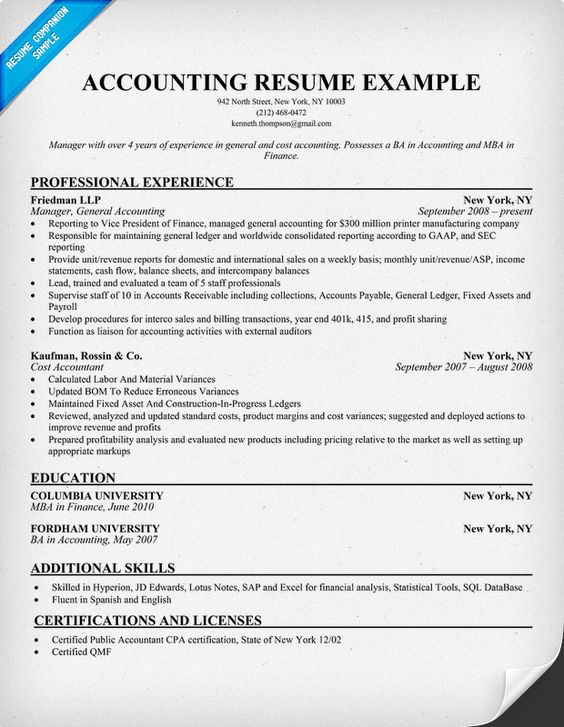 Accounting Resume Example Miscellaneous Pinterest Resume - cost accounting resume