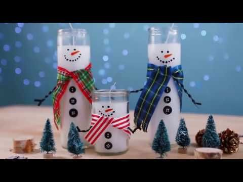 How to Turn Dollar Store Candles Into Adorable Snowmen - Holiday DIY