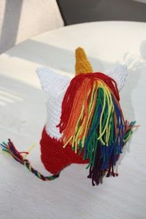 [Insert Clever Name Here]: Rainbow Unicorn Earflap Hat Crochet Pattern. I could see Kaitlin Lamorte wearing this