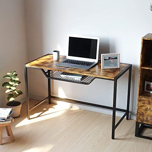 Buy Ironck Writing Computer Desk Industrial Computer Desk Storage Simple Study Desk Grid Tray 47 Home Office Desk Vintage Brown Online Findandbuytopstyl In 2020 Simple Study Desk Desk Desk Storage