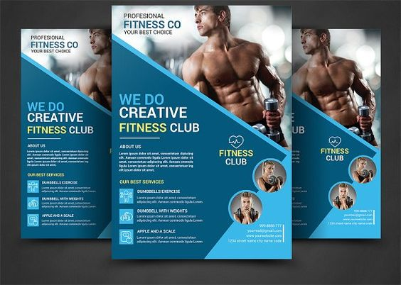 Fitness Flyer \/ Gym Flyer V13 by Satgur Design Studio on - fitness brochure
