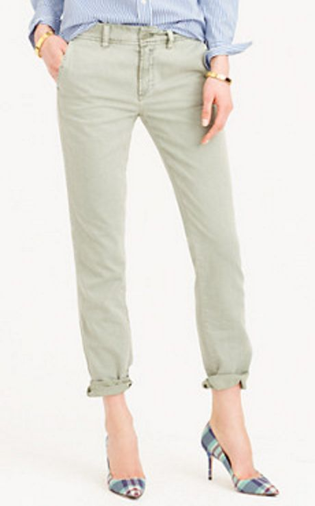 Mint Green Boyfriend Cut Chinos