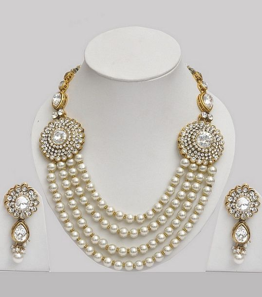 Pearl Jewellery Indian Set Studded With Stones