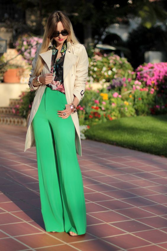 green wide leg pants - Pi Pants