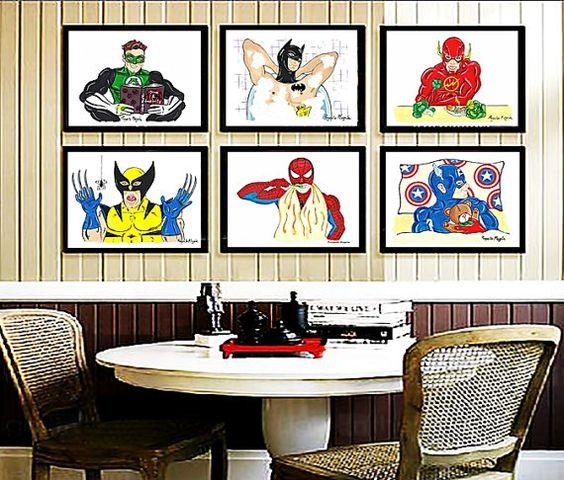 Set de 6 pósters A3. Envío GRATIS. Set de 6 Láminas decoración para niños ilustraciones de superhéroes láminas decoración regalos para él