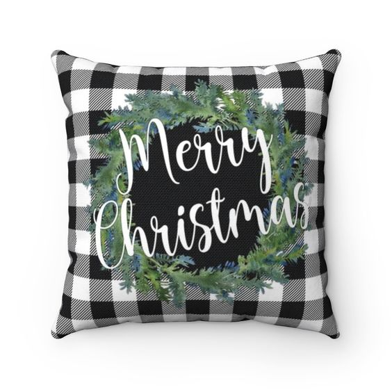 Black and White Buffalo Plaid Merry Christmas Pillow Case with Insert