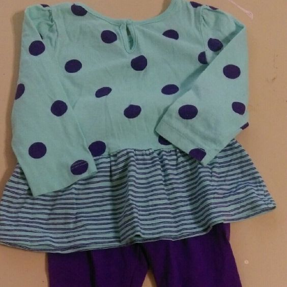 Carter's 9 month outfit Top is blue with purple pokadots.  Pants are purple and he bows on the ankles. Carters Other